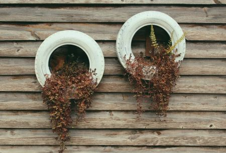Upcycled tyre hanging planter